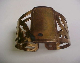 Antique hinged cuff bracelet- patent number stamped- brass or copper color