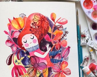 Falling... original watercolor... 9 in x 12 in...