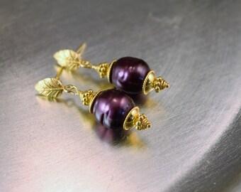 The Penelope Aubergine/Deep Purple Freshwater Pearl and Genuine Bali Vermeil Dangle Earrings - 24k Gold Plated Sterling Silver Vermeil