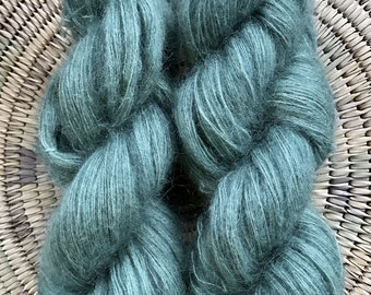 Mohair Merino Lace Weight Yarn 2 matching skeins Hand Dyed blue green teal