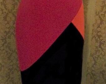 Color block pencil skirt high waist