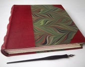 Heirloom Journal, Burgundy Leather with green marbled paper, Fine Art Papers, European Case Binding, traditional book arts