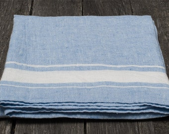 Blue Linen Bath Towel Sheet   Striped 100% Natural Linen Towels for Bathroom   Fast Drying Compact Organic Travel Towel   Yoga / Gym Towels