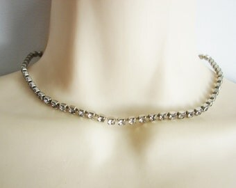 Vintage silver and rhinestone necklace/ choker (J4)