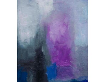 Grace, Original Abstract Painting oil on canvas 6 x 4 x 0.5 inches on gallery wrapped canvas
