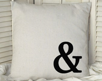 Ampersand (&) Pillow Cover Natural Canvas Black Tattered Ampersand Shabby Ragged Decorator Pillow 16 x 16