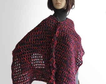 Crochet Poncho, Women's Crochet Poncho, Red, purple & Black Poncho, women's boho poncho, chunky poncho
