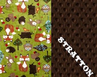 Woodland Animal Minky Blanket Boy, Green Foxes Hedgehogs Brown Personalized Baby Blanket // Woodland Blanket // #SDB035