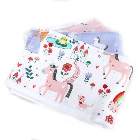 Unicorn Burp Cloths set of 3 // Pink Purple Princess Burp Cloths  // Diaper Burp Cloths // Cotton Burp Cloth // Baby Shower Gift