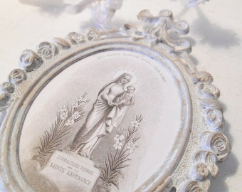 Vintage Framed Mary Statue Antique French Holy Card Image