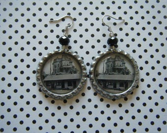Bates house and Bates motel horror bottle cap earrings with black glass beads