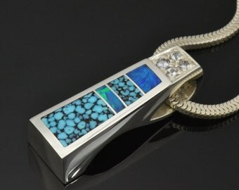 Turquoise Pendant with Australian Opal Inlaid in Sterling Silver- Opal Pendant- Opal and Turquoise Pendant