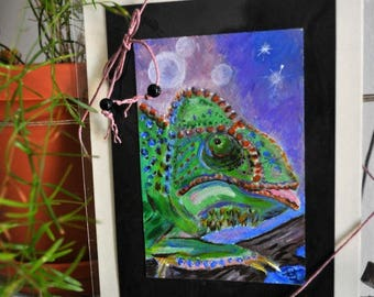 Chameleon spirit totem animal, small format acrylic painting mounted on handmade paper