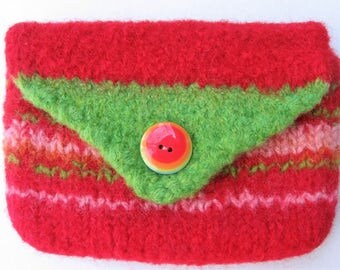 Purse Petite Red and Green Wool Buttoned Hand Knitted Felted