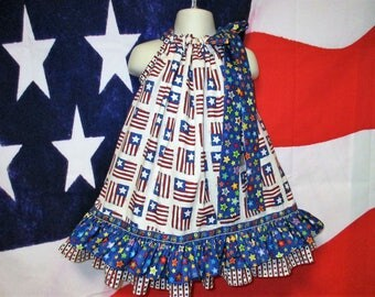 SALE Girls 4th of July Dress 2T/3T Red Cream Blue Stars Stripes Pillowcase Dress, Pillow Case Dress, Sundress