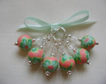 Polymer Clay Round Flower Stitch Markers for Knitting or Crochet