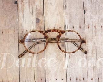 VINTAGE | Round Sunglasses | Giraffe Print | Deadstock | Clear Glasses SG1286