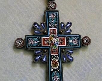 Antique Italian Micro Mosaic Cross Pendant, Victorian Micro Mosaic Cross, Old Micro Mosaic Cross (#3232)