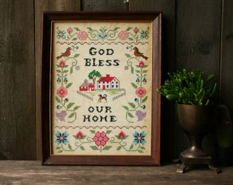 Antique Embroidery Smpler Stitch God Bless Our Home Vintage From Nowvintage on Etsy