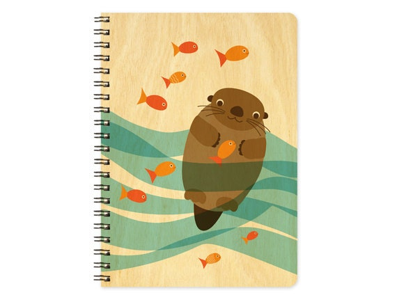 Otter School of Fish Birch Wood Journal - Otter Journal - Sketchbook - Notebook - J1727