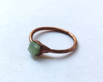 CLEARANCE SALE Rough emerald cube copper ring