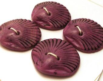 Handmade Buttons Shell Shape Deep Red  25mm