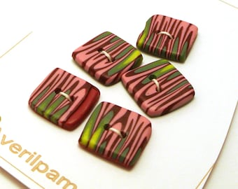Handmade Buttons Square Pink Green Stripes 15mm
