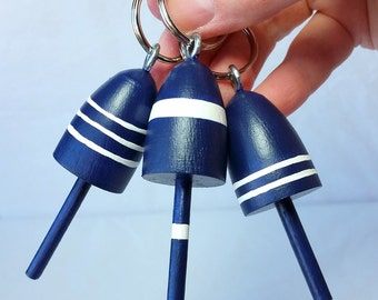 Lobster Buoy Key Chain Wedding Favors, Nautical Navy and White, set of 3
