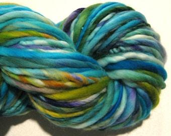 Super Chunky Handspun Yarn Bristol 107 yards hand dyed merino wool turquoise blue yarn green yarn knitting supplies crochet supplies