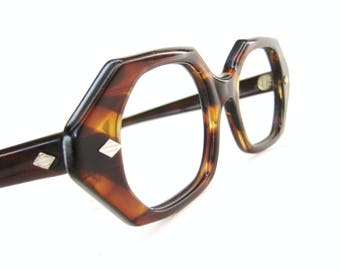 Vintage Unique 70s Octagon Eyeglasses Frame Imperial