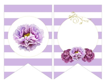Digital Printable Bridal Shower Banner Flags with Purple Flowers on Lavender BB003