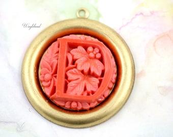 Coral Vintage Glass Monogram Alphabet Letter D Flower Pendant - 1