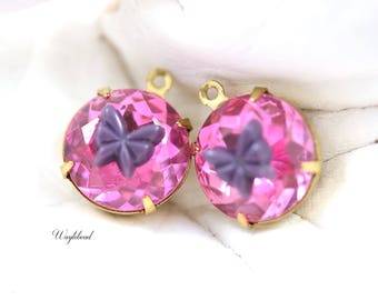 Vintage Round Rhinestone Set Stones 1 Ring Closed Back Brass Settings 14mm Lavender Butterflies Rose Pink - 2