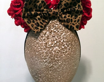 Made to Match Minnie Mouse Red Rose Leopard Bow Girls Mouse Ears Stretch Headband Halloween Costume Prop