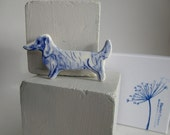 Dachshund -   Brooch - Handpainted Delft blue porcelain Brooch
