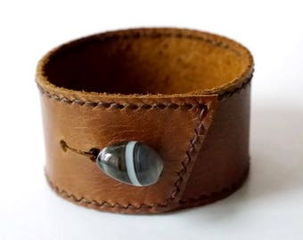 Leather Cuff in Tan Leather Bracelet Leather Bangle with Agate Button