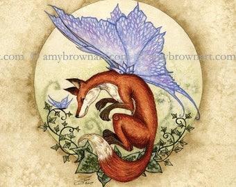 5x7 Curiosity Fox fairy PRINT by Amy Brown