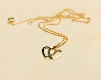 Double Heart Necklace, Gold Heart Necklace, Love Necklace, Heart Necklace, Two Heart Necklace, Gold Heart, Gold Chain Necklace