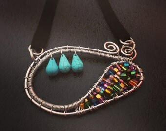 Aluminum, wire-wrapped, allergy free, turquoise, beaded, silk, black suede, multi colored, statement necklace