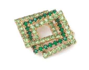 Two Tone Green Rhinestone Pin Brooch Dimensional Squares Vintage