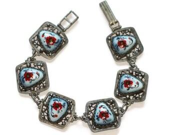 Red Floral Porcelain Enameled Bracelet Russian Finift Enamel Silver Filigree Vintage
