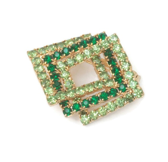 Two Tone Green Rhinestone Pin Brooch Dimensional Squares Vintage