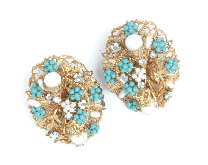 Turquoise and White Milk Glass Bead Earrings Filigree Rhinestones Vintage