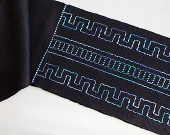 """Handwoven Hand dyed Inlay Silk Scarf - Blue Ladders, 59""""x6"""""""