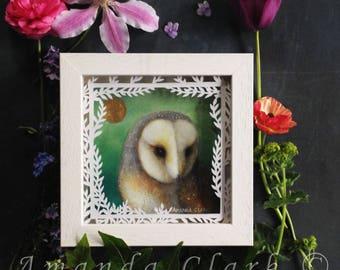 Framed original painting.  Titled 'Owl 3' by Amanda Clark.