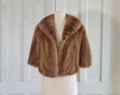 50s Mink Stole  Honey Brown  Fur Cape Mink Shrug
