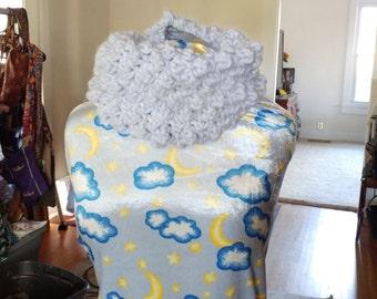Soft Peruvian wool crochet popcorn cowl in blue