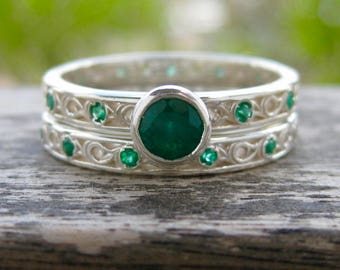 Emerald Engagement Ring & Matching Wedding Band in Sterling Silver with Scroll Pattern Size 10