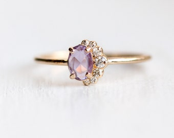 Astra Ring // Rose Cut Pink Sapphire and White Diamond Cluster Ring / Mauve pink sapphire, side swept diamond clusters, in 14k Yellow Gold