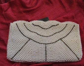 1950s Pearl Beaded Wedding Clutch Purse